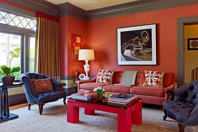 Phòng khách màu sắc sặc sỡ trang trí theo phong cách retro