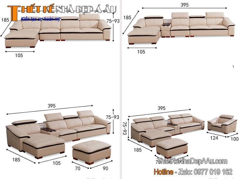 các chỉ số kích thước sofa chữ L
