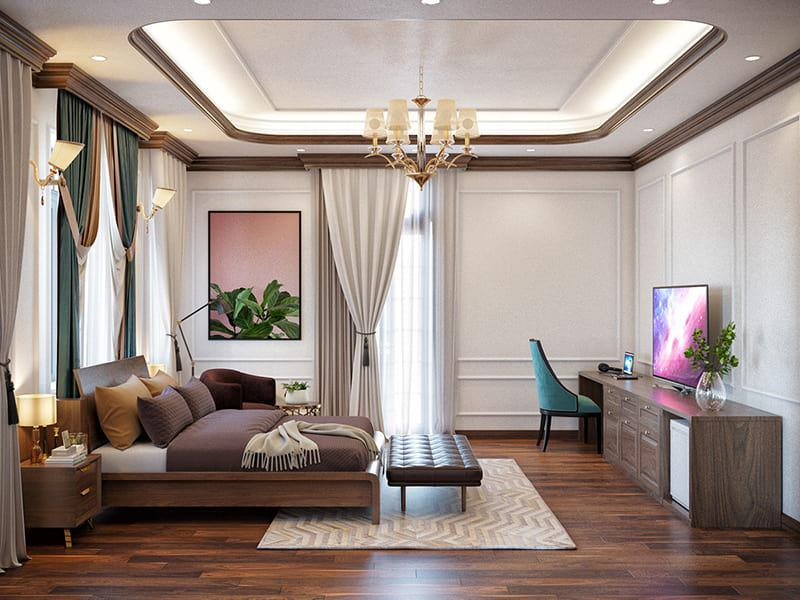 phòng ngủ lát sàn gỗ trần treo đèn chùm sang trọng