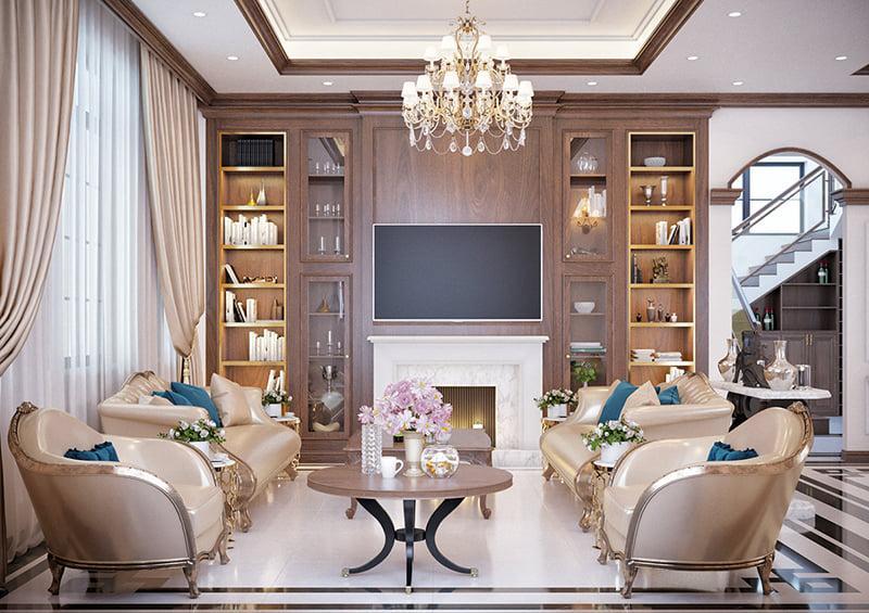 trang trí phòng khách nội thất tân cổ