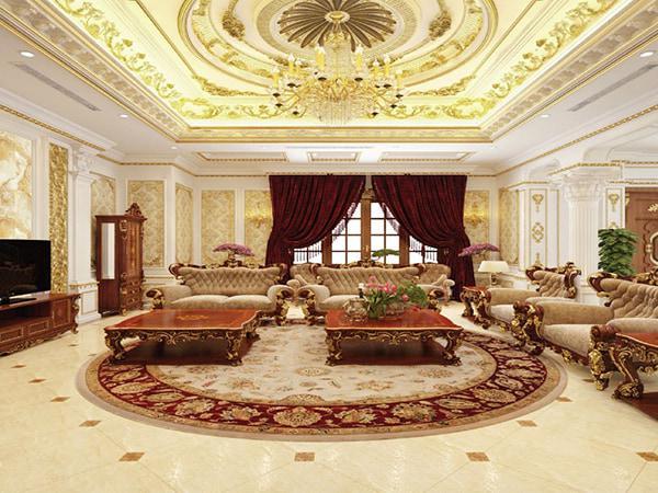 trần phòng khách dát vàng