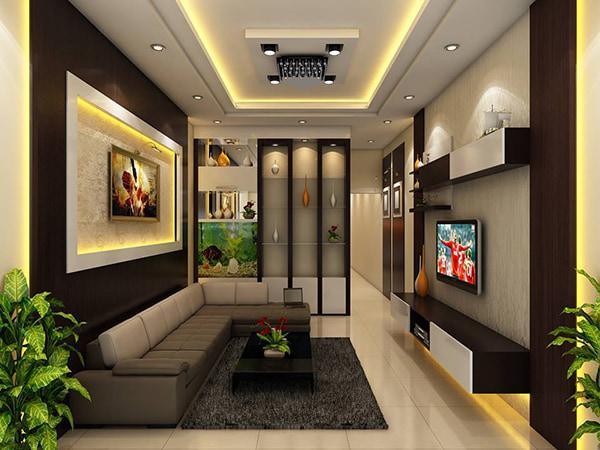 phòng khách sử dụng trần thạch cao kết hợp hệ thống đèn led tôn vẻ đẹp không gian nội thất