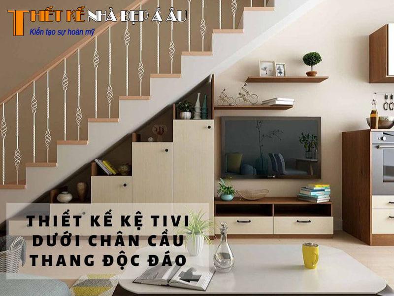 đặt tủ tivi trang trí dưới cầu thang