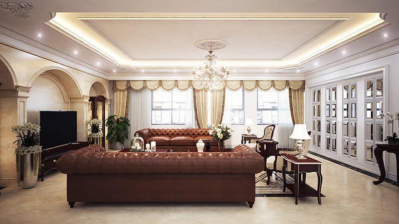 bộ sofa lớn bề thế thiết kế mang phong cách Châu Âu