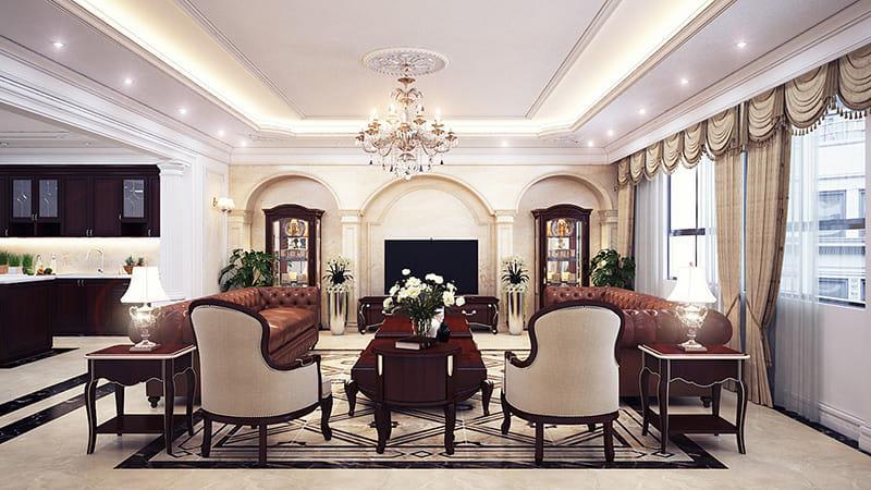Thiết kế nội thất căn hộ phong cách tân cổ điển sang trọng