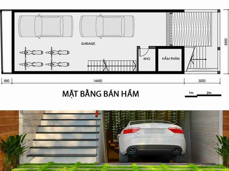 Bố trí nội thất tầng hầm nhà phố