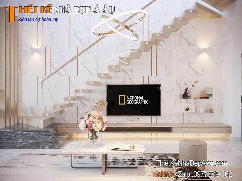 Mẫu cầu thang hiện đại độc đáo điểm nhấn cho không gian phòng khách