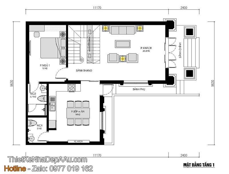 mặt bằng nhà 2 tầng 3 phòng ngủ thoáng mát