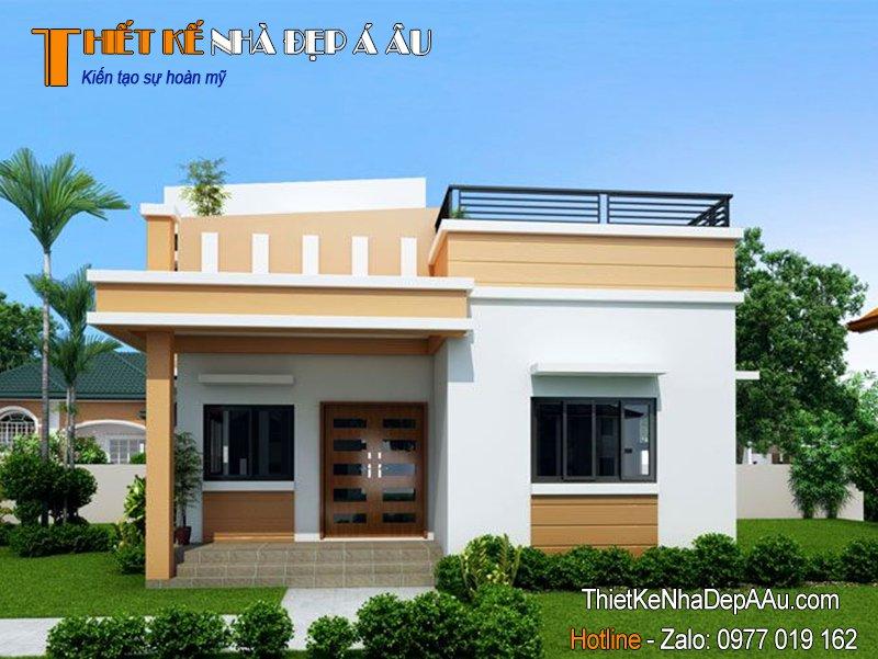 Mẫu thiết kế nhà 1 tầng mái bằng đẹp