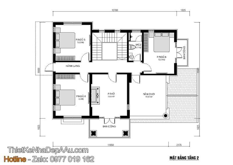 Phương án bố trí nội thất nhà 2 tầng mái thái
