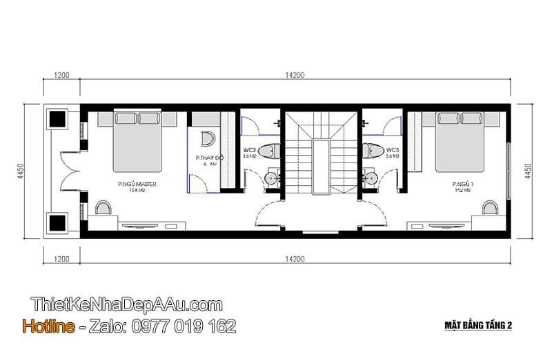 Phương án thiết kế mặt bằng nhà phố mặt tiền 4m