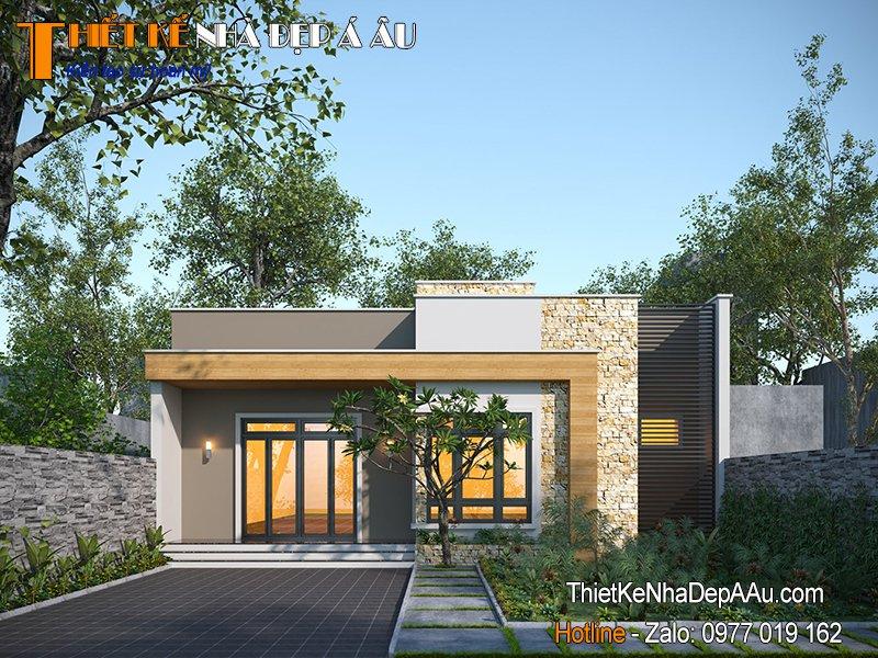 thiết kế nhà 1 tầng đẹp mái bằng