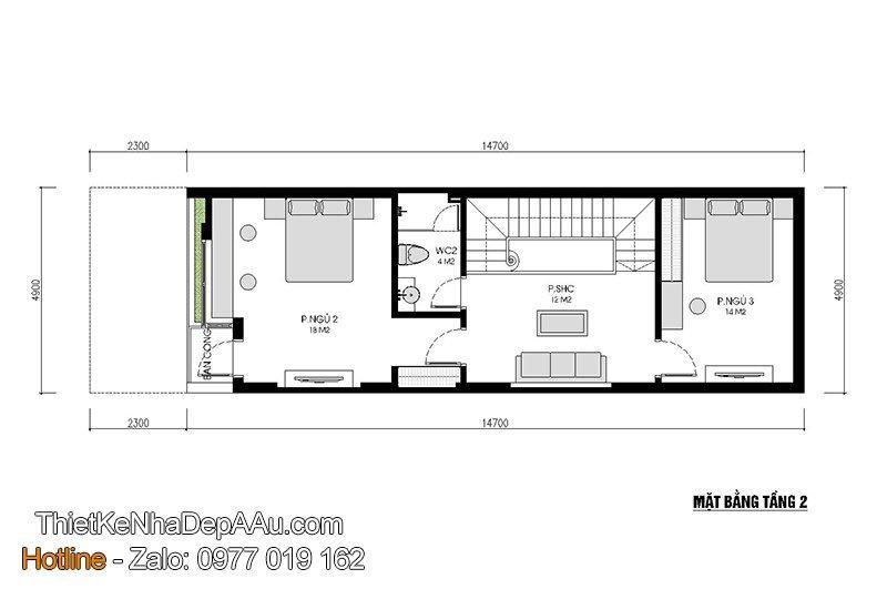 bản vẽ mặt bằng nhà 2 tầng 3 phòng ngủ