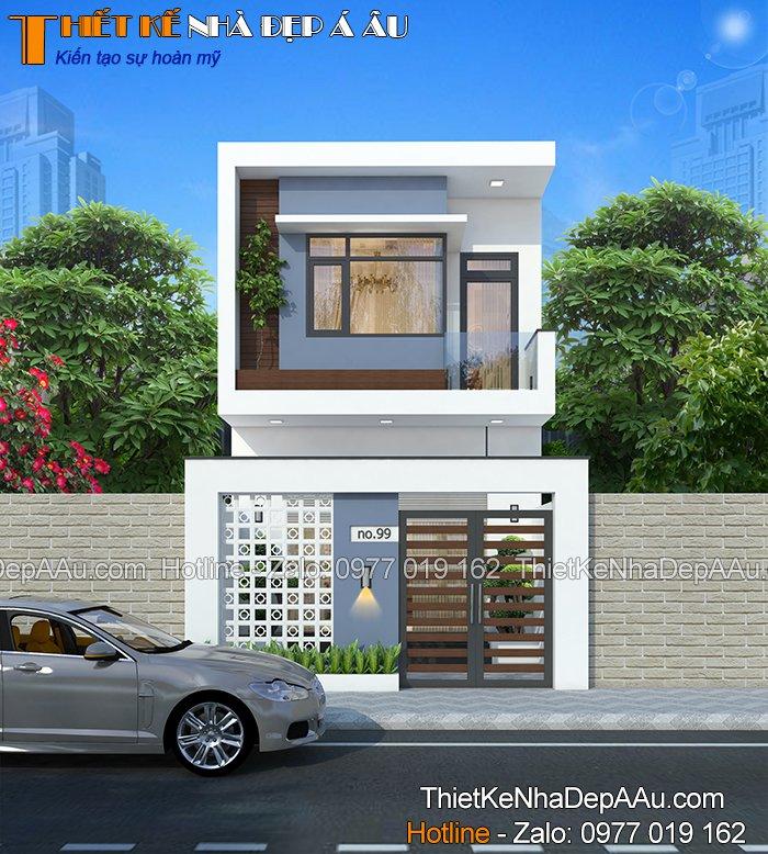 mẫu thiết kế nhà phố 2 tầng 3 phòng ngủ