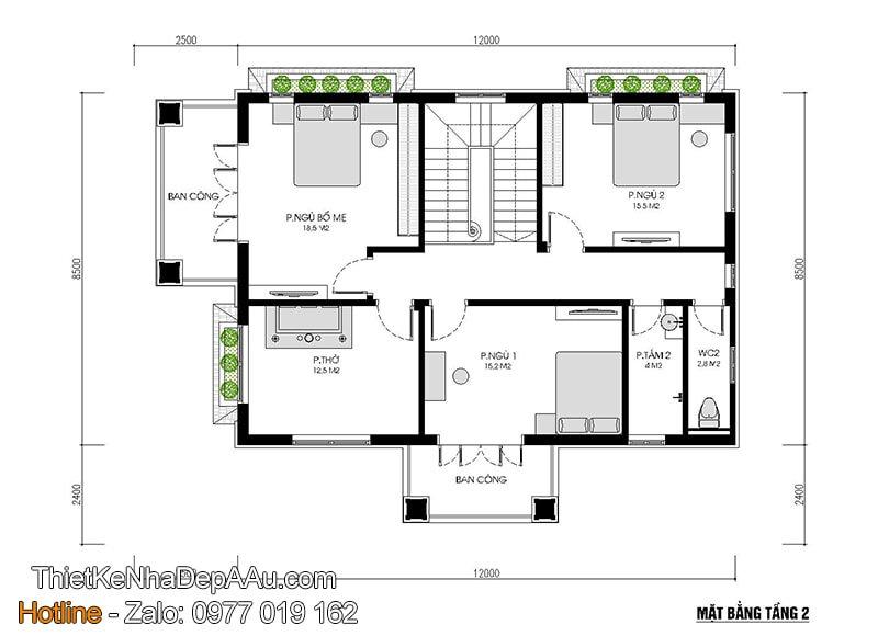 phương án bố trí mặt bằng nội thất nhà 2 tầng