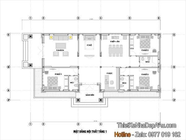 phương án bố trí mặt bằng nội thất nhà cấp 4 mái thái