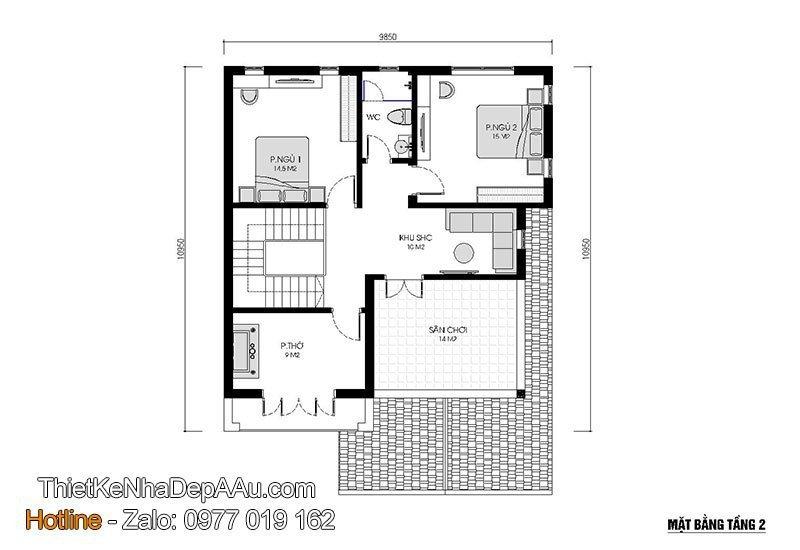 không gian nội thất nhà 2 tầng đẹp