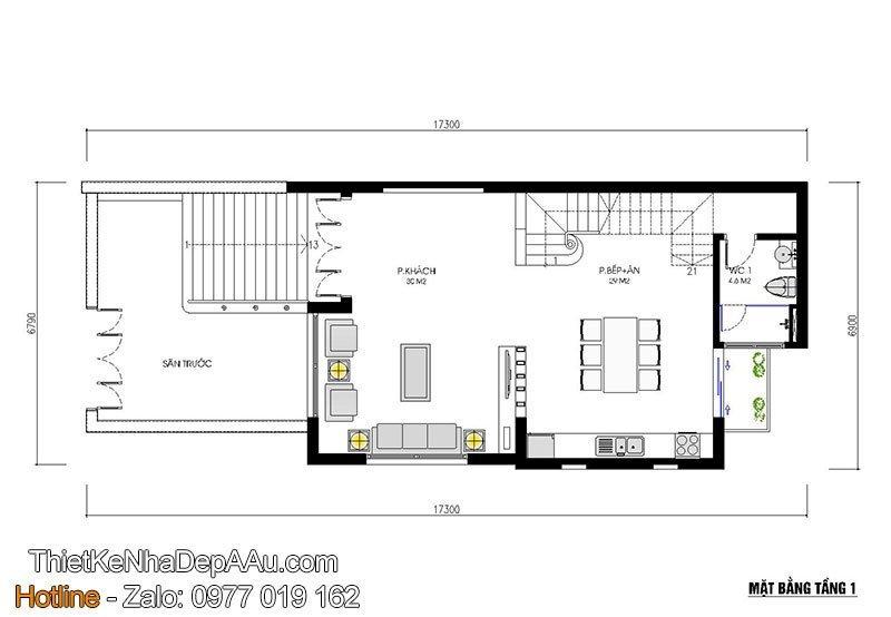 nội thất không gian tầng 1 nhà phố