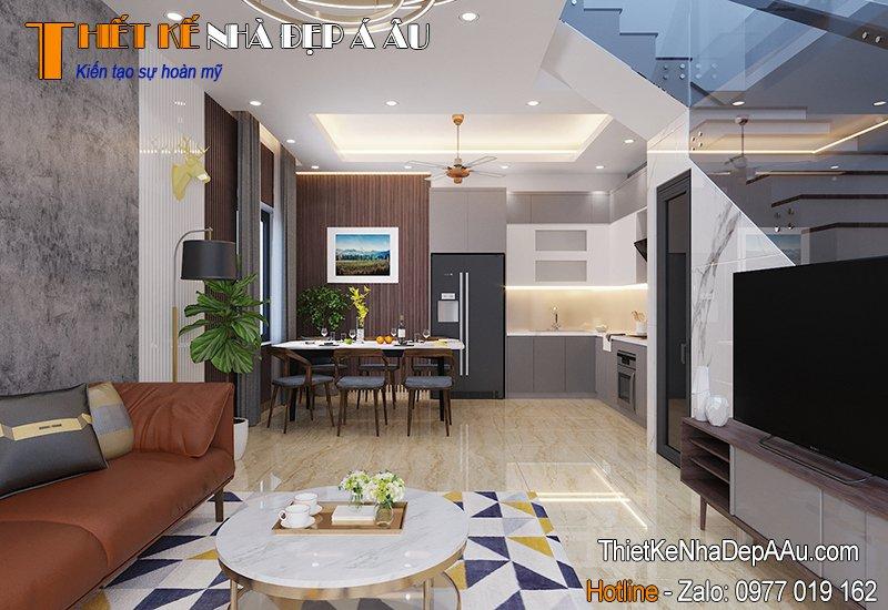 Thiết kế nội thất tầng 1 nhà phố