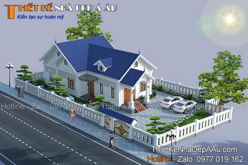 Bản vẽ thiết kế nhà 1 tầng 140m2