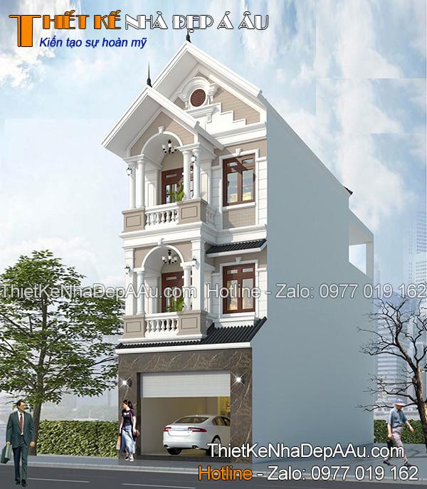 Mẫu nhà phố 3 tầng 5x20m đẹp kiểu mái thái