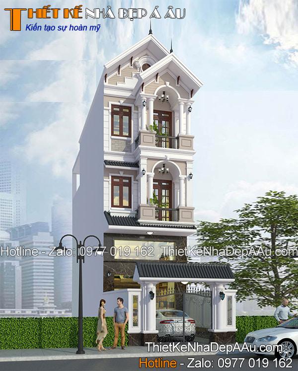 Phối cảnh mẫu thiết kế nhà 3 tầng có gác lửng