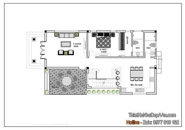 mặt bằng nhà 1 tầng mái thái