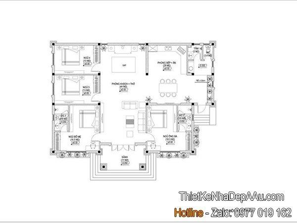 mẫu biệt thự 1 tầng mái thái đẹp