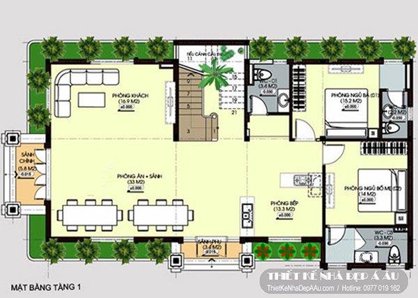 Mặt bằng chi tiết nội thất tầng 1 bố trí phòng khách rộng