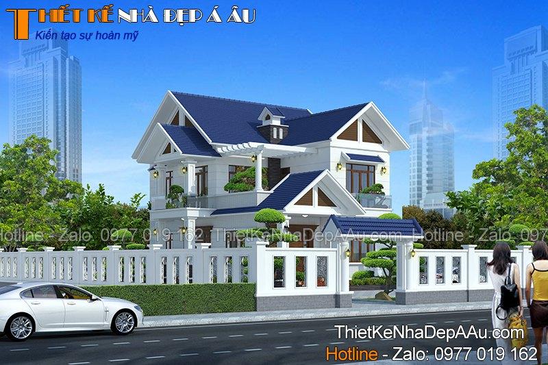 Bản vẽ thiết kế nhà 2 tầng mái thái đẹp ở nông thôn