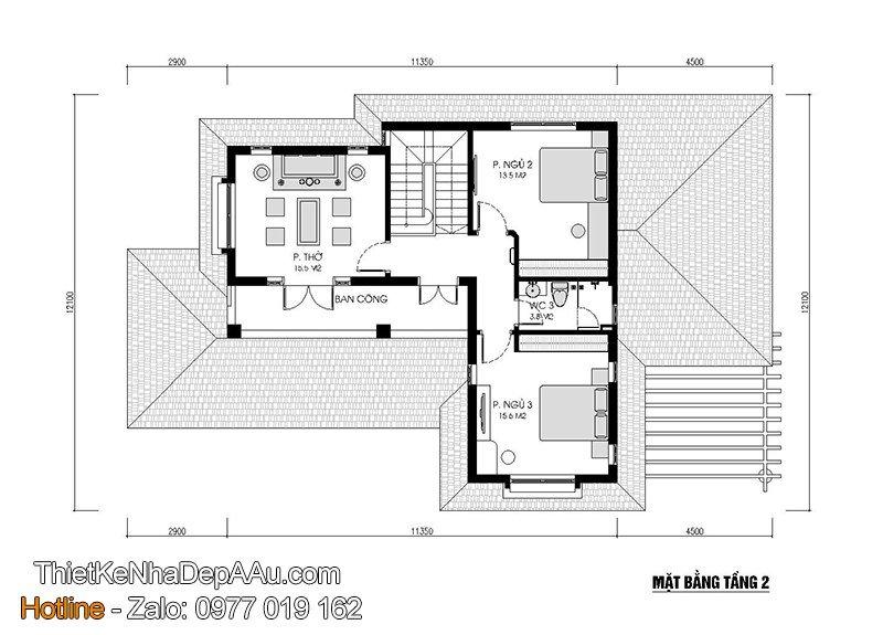 bản vẽ mặt bằng bố trí phòng công năng, nội thất biệt thự 2 tầng