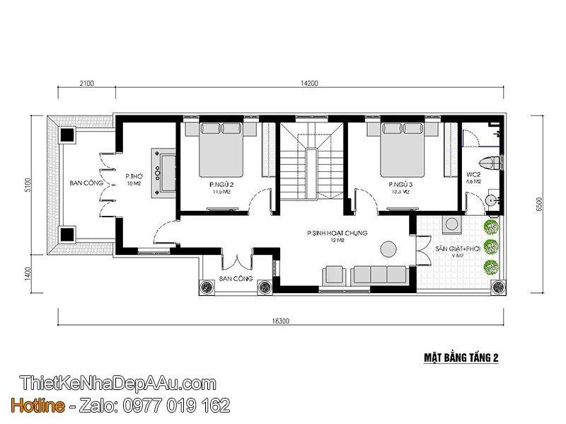 Trang trí nội thất nhà 2 tầng 80m2