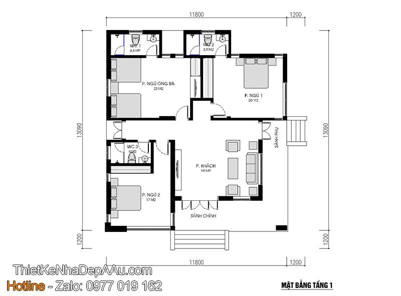 Phương án bố trí nội thất biệt thự 1 tầng