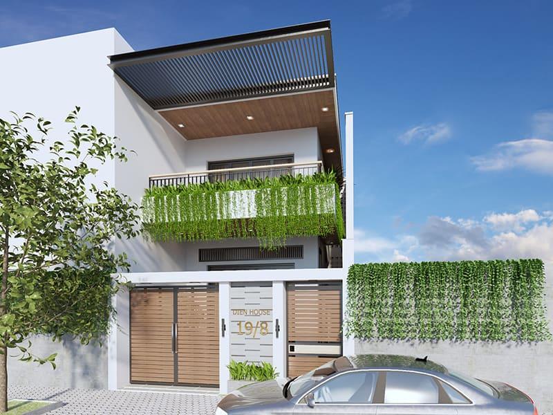 thiết kế nhà 2 tầng 4 phòng ngủ 5x20