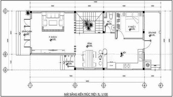 Mặt bằng nhà 2 tầng 5x15m