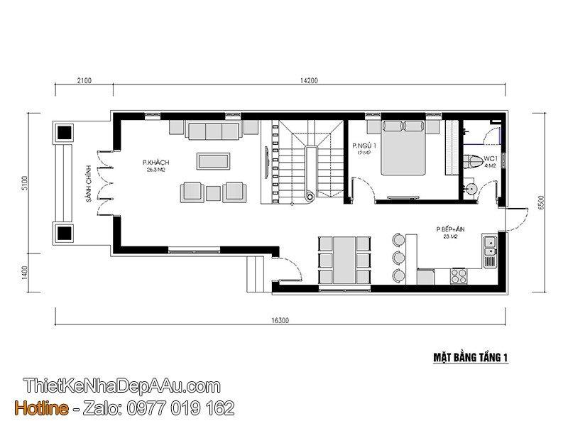 phương án bố trí nội thất nhà 2 tầng