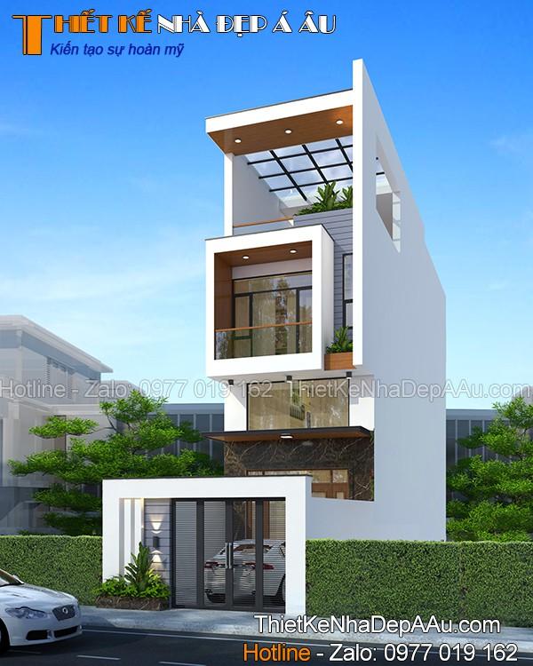 Bản vẽ thiết kế nhà phố 2 tầng 1 tum 80m2