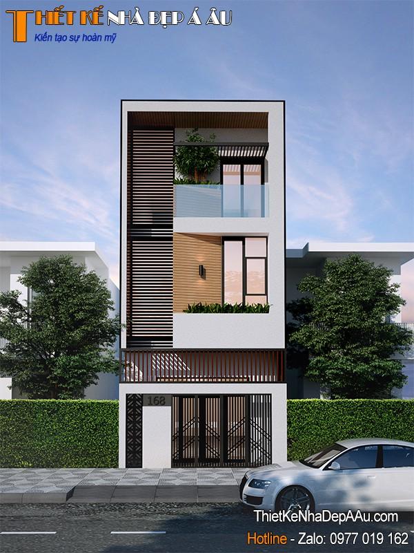 thiết kế nhà phố 2 tầng 1 tum đẹp