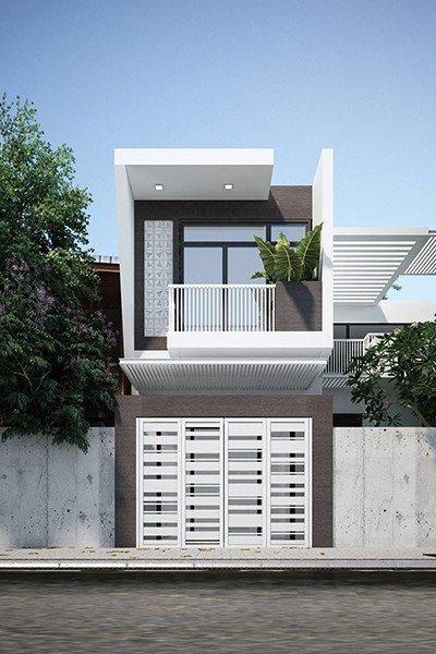 mẫu nhà 2 tầng 3 phòng ngủ 5x20m
