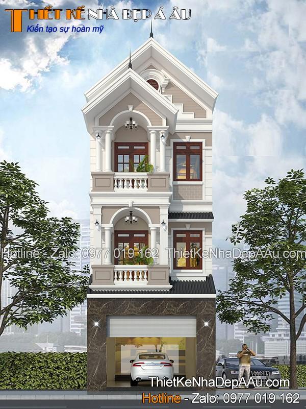 Kiến trúc nhà 3 tầng mái thái tân cổ điển