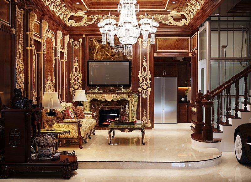 trang trí nội thất phòng khách phong cách cổ điển