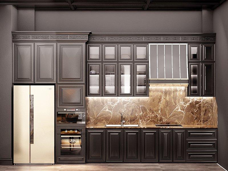 tủ gỗ nhà bếp sang trọng