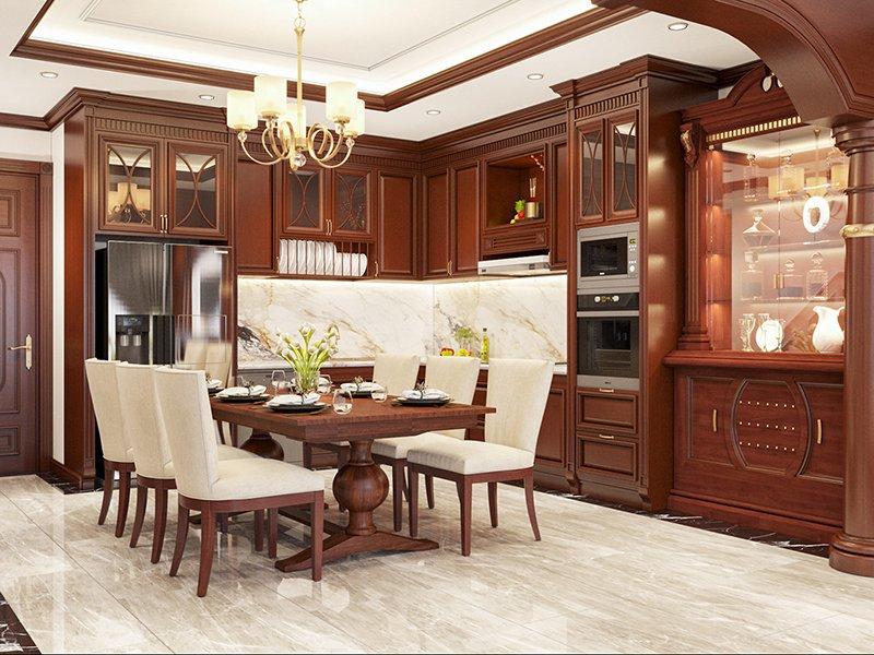 trang trí nội thất biệt thự chất liệu gỗ