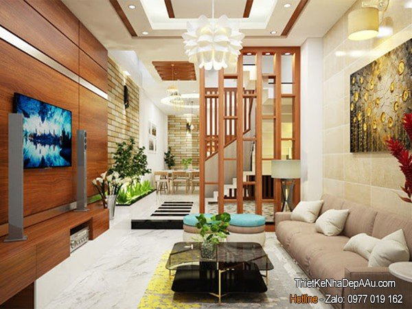 thiết kế nội thất nhà ống sử dụng gỗ tự nhiên
