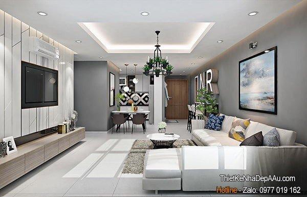 phòng khách nhà ống 5m hiện đại