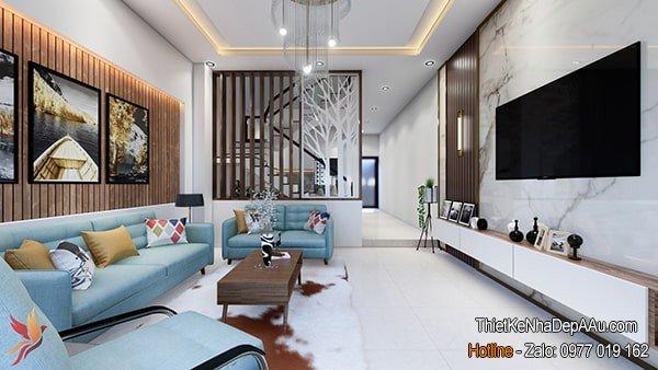 trang trí nội thất phòng khách nhà ống 5m