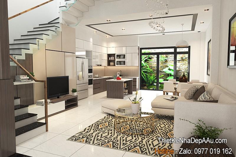 mẫu thiết kế phòng khách nhà ống mặt tiền 5m