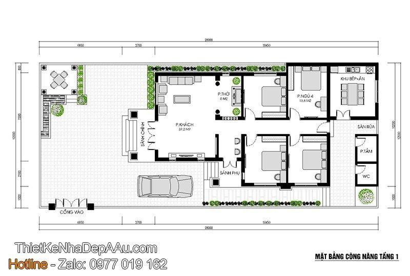 Phương án bố trí mặt bằng công năng biệt thự 1 tầng 4 phòng ngủ