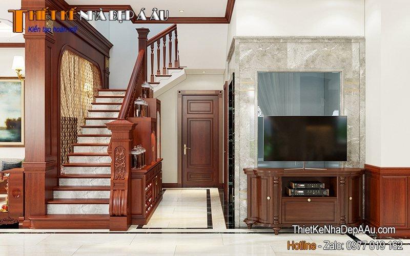 Cầu thang gỗ đẹp đặt phòng khách căn biệt thự
