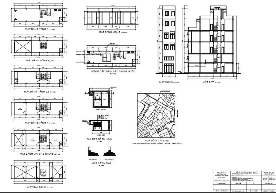 Chi tiết bản vẽ mặt bằng xây dựng nhà ở dân dụng